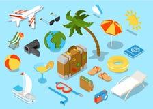 Insieme isomectric piano dell'icona degli oggetti di viaggio 3d Fotografie Stock