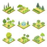 Insieme isometrico 3D dei paesaggi del parco pubblico illustrazione vettoriale