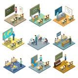 Insieme isometrico 3D di istruzione scolastica Fotografie Stock Libere da Diritti