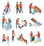 Insieme isometrico dei volontari La gente che si preoccupa gli anziani senza tetto e malati Servizio alla comunità sociale, filan royalty illustrazione gratis