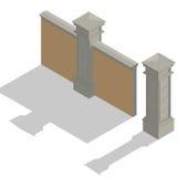 Insieme isometrico del recinto di vettore, corredo di costruzione Immagini Stock Libere da Diritti