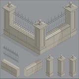 Insieme isometrico del recinto di vettore, corredo di costruzione Fotografia Stock