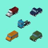 Insieme isometrico dell'automobile di trasporto, dell'autobus, di Suv e di altri oggetti di vettore Inoltre include Suv, l'automo Immagine Stock