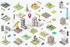 Insieme isometrico dell'icona della città illustrazione vettoriale