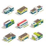 Insieme isometrico dell'icona delle costruzioni del centro commerciale del centro commerciale del deposito illustrazione vettoriale