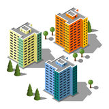 Insieme isometrico dell'illustrazione delle costruzioni Fotografia Stock