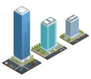 Insieme isometrico della composizione delle case della città con costruzione e della strada isolata illustrazione vettoriale