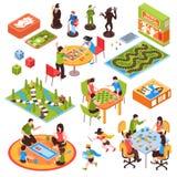 Insieme isometrico della gente dei giochi da tavolo illustrazione di stock