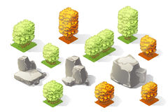 Insieme isometrico della raccolta della foresta delle piante Alberi e pietre di caduta Immagine Stock Libera da Diritti