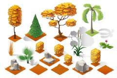Insieme isometrico della raccolta della foresta delle piante Alberi e pietre di caduta Fotografie Stock
