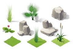 Insieme isometrico della raccolta della foresta delle piante Alberi e pietre di caduta Immagini Stock Libere da Diritti