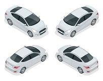Insieme isometrico delle automobili della berlina Veicolo ibrido compatto Auto ecologica di ciao-tecnologia Automobile isolata, m Fotografie Stock