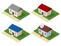 Insieme isometrico delle case residenziali Immagini Stock