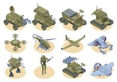 Insieme isometrico delle icone dei robot militari illustrazione di stock