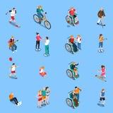 Insieme isometrico delle persone disabili royalty illustrazione gratis