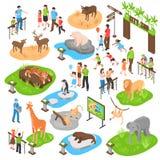 Insieme isometrico dello zoo grande royalty illustrazione gratis