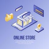 Insieme isometrico di concetto di progetto di Digital delle icone online del app 3d del deposito Negozio isometrico del simbolo-d immagini stock libere da diritti