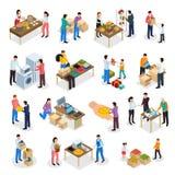 Insieme isometrico di donazione delle merci illustrazione vettoriale