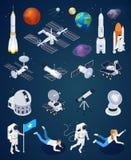 Insieme isometrico di esplorazione spaziale royalty illustrazione gratis