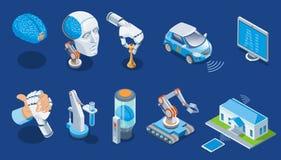 Insieme isometrico di intelligenza artificiale illustrazione di stock