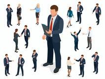 Insieme isometrico di progettazione di carattere della donna di affari e dell'uomo d'affari Uomo isometrico di affari della gente illustrazione vettoriale