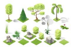 Insieme isometrico di vettore della raccolta della foresta del giardino delle piante Immagine Stock