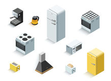 Insieme isometrico di vettore di attrezzatura elettrica domestica Immagine Stock