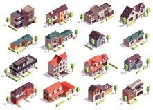 Insieme isometrico edifici di Suburbian royalty illustrazione gratis