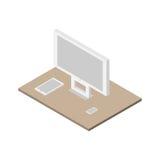 Insieme isometrico piano 3d del computer, del pc della compressa e dello smartphone Fotografia Stock