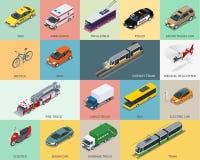 Insieme isometrico piano dell'icona di trasporto della città 3d tassì Fotografie Stock
