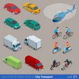 Insieme isometrico piano dell'icona di trasporto della città 3d Fotografie Stock Libere da Diritti