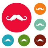 Insieme lanuginoso del cerchio delle icone dei baffi royalty illustrazione gratis