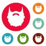 Insieme lanuginoso del cerchio delle icone della barba illustrazione vettoriale