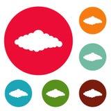 Insieme lanuginoso del cerchio delle icone della nuvola royalty illustrazione gratis