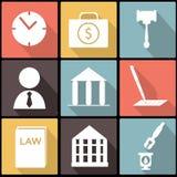 Insieme legale, della giustizia e di legge dell'icona nella progettazione piana Immagine Stock