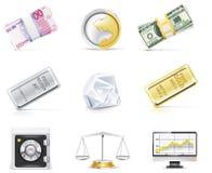 Insieme in linea dell'icona di attività bancarie di vettore. Parte 5 Immagine Stock