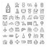 Insieme lineare dell'icona degli elementi dei bambini del bambino di vettore Fotografie Stock Libere da Diritti