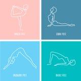 Insieme lineare dell'icona di yoga royalty illustrazione gratis