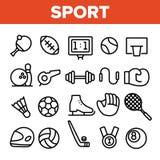 Insieme lineare delle icone di vettore dell'attrezzatura dei giochi di sport illustrazione di stock