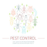 Insieme lineare di controllo dei parassiti a colori Immagine Stock Libera da Diritti