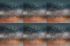 Insieme lineare di infographics delle frecce del cerchio mascherina illustrazione di stock