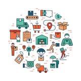 Insieme logistico di consegna variopinta circolare del modello nello stile piano Icone di vettore per il web, infographic o la st royalty illustrazione gratis