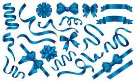 Insieme lucido blu delle insegne di vettore del nastro illustrazione vettoriale