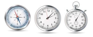 Insieme lucido della bussola, dell'orologio e del cronometro. Vettore Fotografia Stock