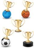 Insieme lucido isolato di sport dell'icona della tazza del trofeo dell'oro royalty illustrazione gratis