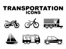 Insieme lucido nero dell'icona del trasporto Immagine Stock
