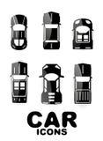 Insieme lucido nero dell'icona dell'automobile Fotografie Stock Libere da Diritti