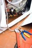 Insieme a macchina d'incenerimento degli strumenti dell'impianto idraulico Fotografie Stock