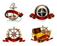 Insieme marino dell'emblema illustrazione di stock