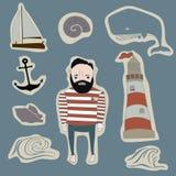 Insieme marino di vettore delle icone, di simbolo e degli autoadesivi Fotografia Stock